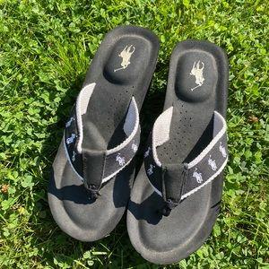Polo Ralph Lauren Black Platform Flip Flops